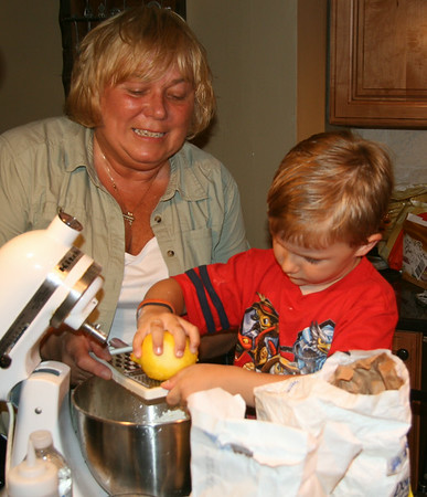 Baking Blueberry Kuchen with Brayden and Avery, June 24, 2014